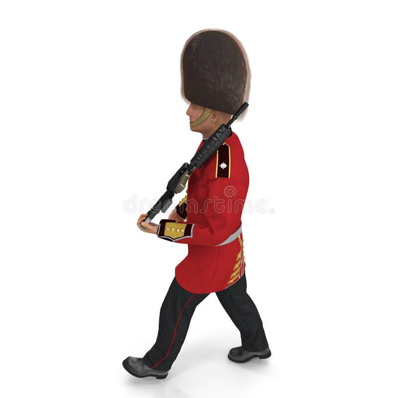 Marching British Royal Guard Holding Gun Isolated on White Background 3D Illustration stock illustration
