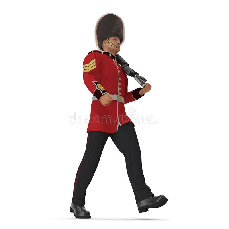 Marching British Royal Guard Holding Gun Isolated on White Background 3D Illustration royalty free illustration