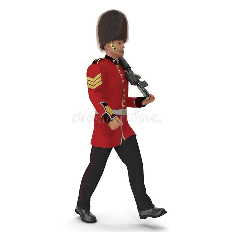 Marching British Royal Guard Holding Gun Isolated on White Background 3D Illustration vector illustration