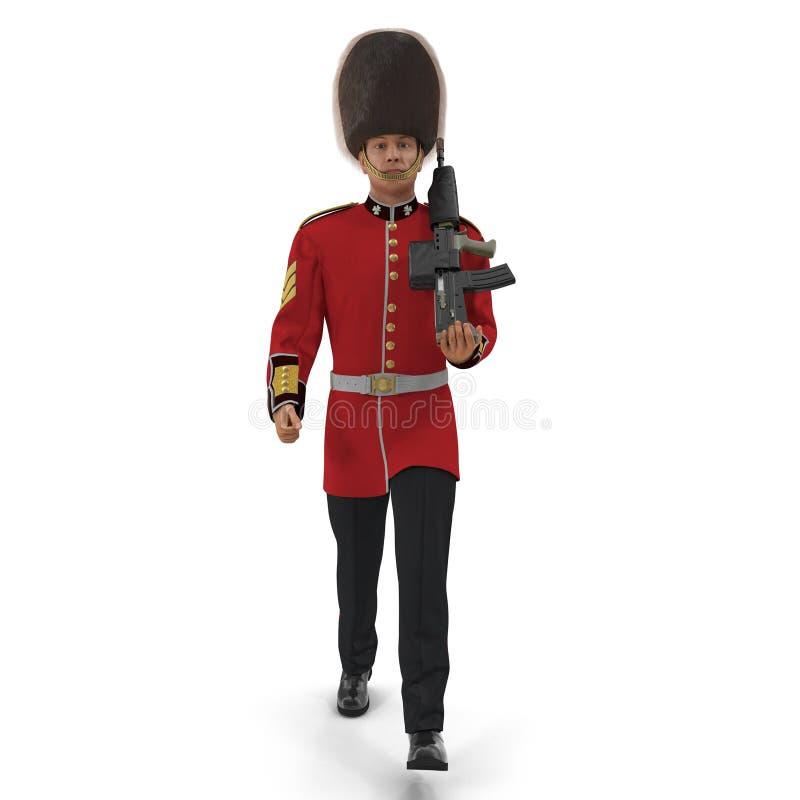 Marching British Royal Guard Holding Gun Isolated on White Background 3D Illustration royalty free illustration