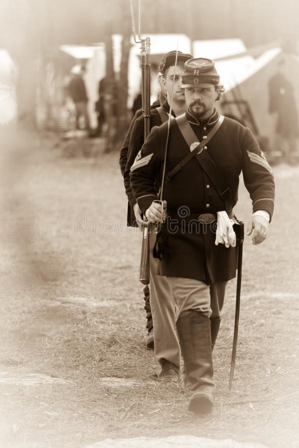 Marching Civil War Soldiers royalty free stock photos
