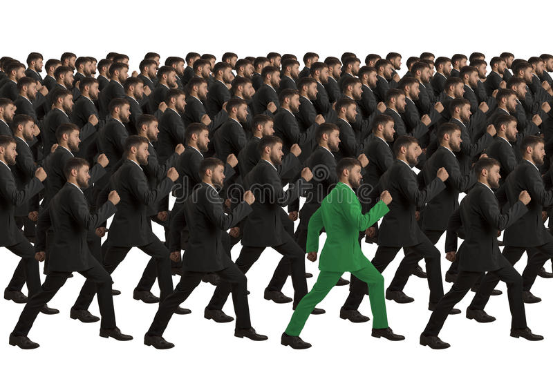 Marching Clones with green individual royalty free stock images