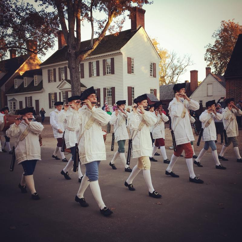 Marching into the Colonial Sunset stock photography