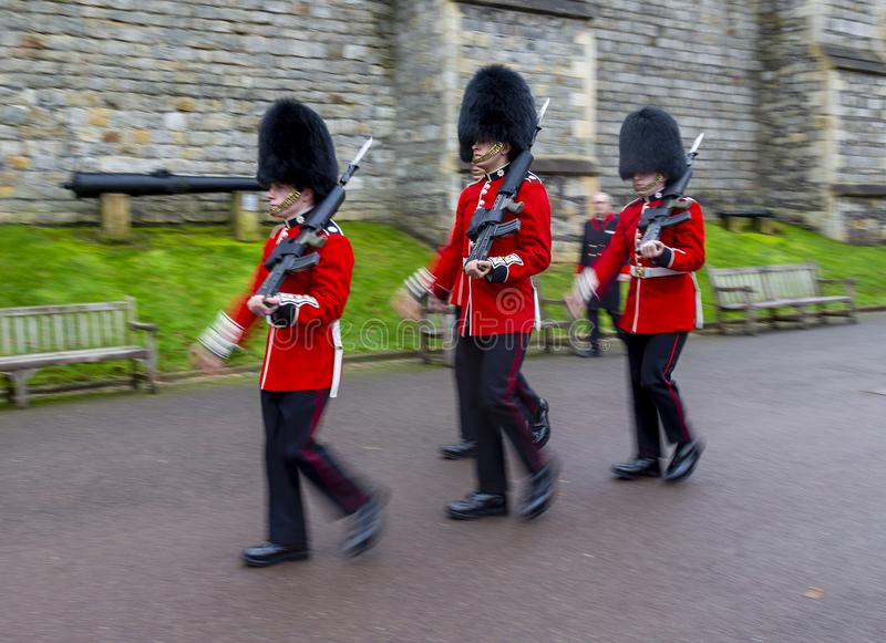 Marching guards at Windsor Castle stock photography