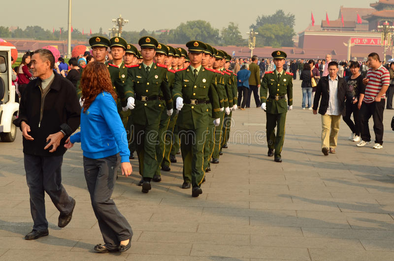Marching Red Guards, Tiananmen Square stock photo
