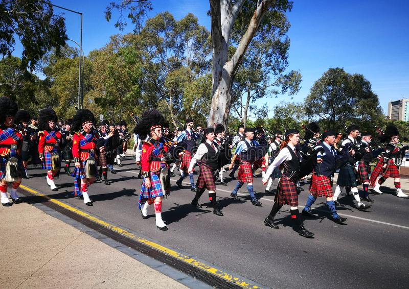 The marching in Remembrance Day for The Scots College, is a special anniversary evening event to coincide with Remembrance Day. royalty free stock image