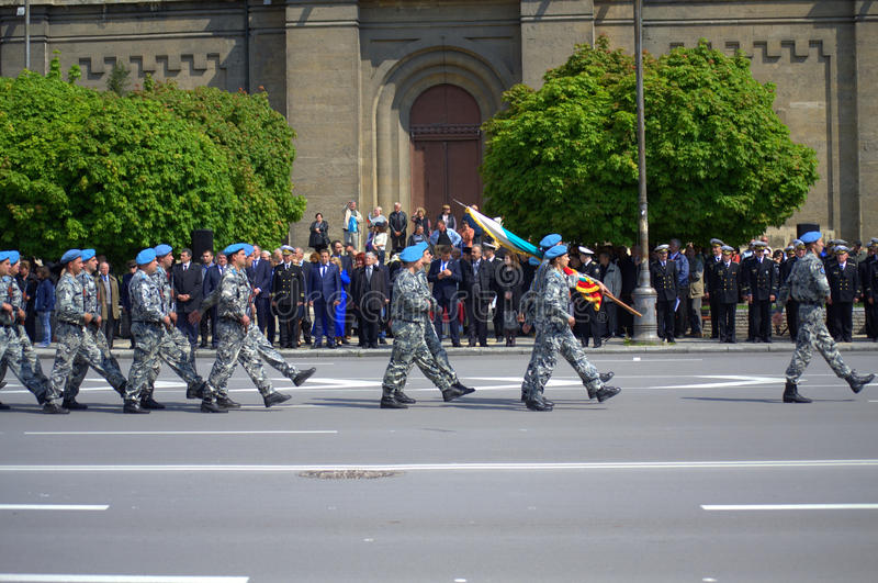 Marching soldiers in parade royalty free stock photography