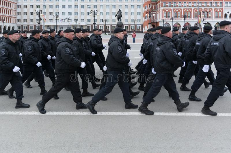 Marching squad of rapid reaction of the Russian police stock photo