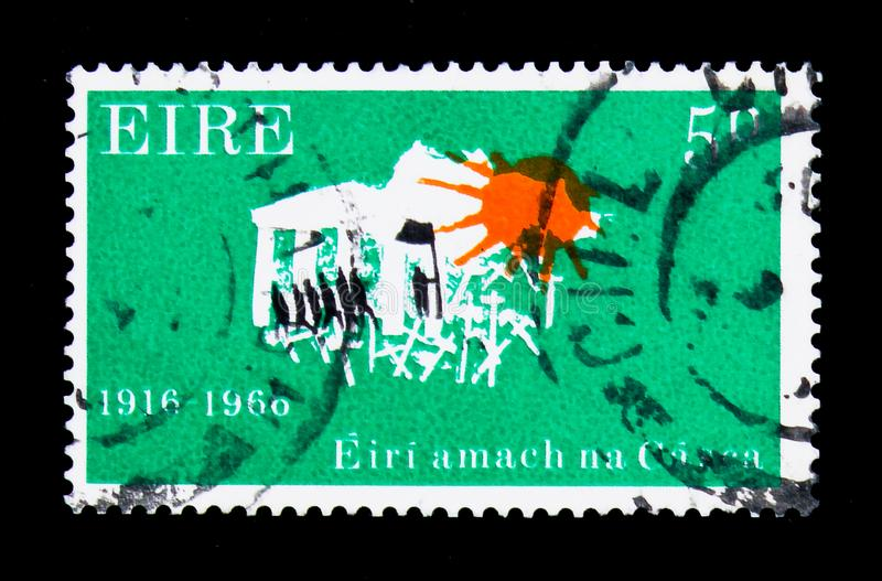 Marching to Freedom 1916-1966, 50th Anniversary of the Easter Uprising serie, circa 1966. MOSCOW, RUSSIA - NOVEMBER 23, 2017: A stamp printed in Ireland shows stock photos