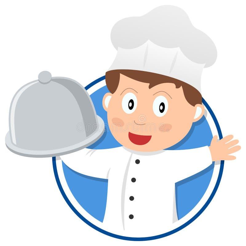 Marchio del cuoco unico del ristorante illustrazione vettoriale