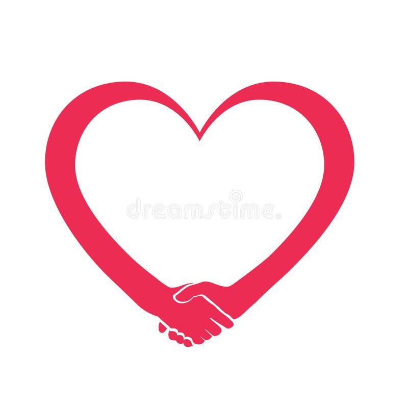 Marchio del cuore di cooperazione e di amore illustrazione vettoriale