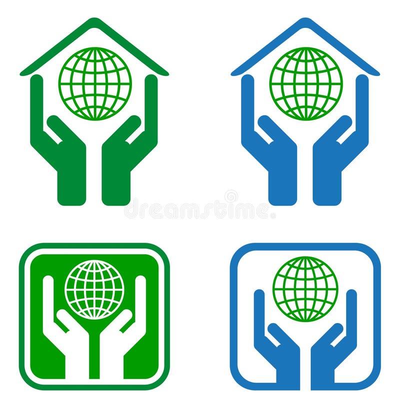 Marchio del globo della mano illustrazione di stock