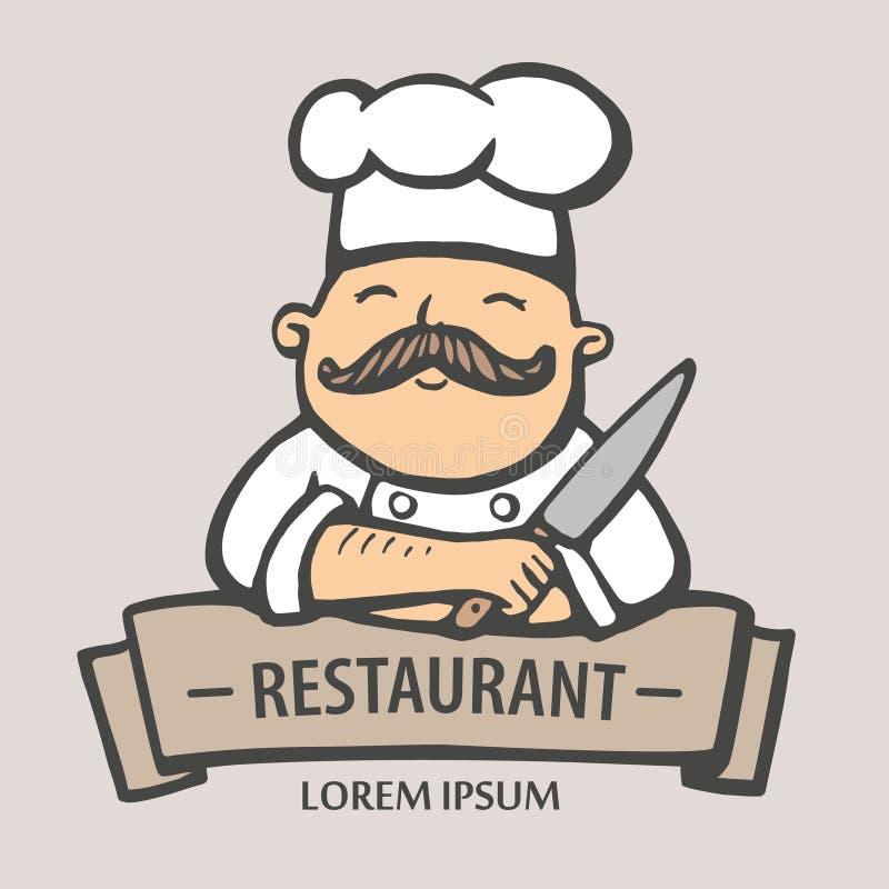 Marchio del ristorante Illustrazione disegnata a mano di vettore del capo-fornello con i baffi e un coltello logo del capo-fornel illustrazione vettoriale