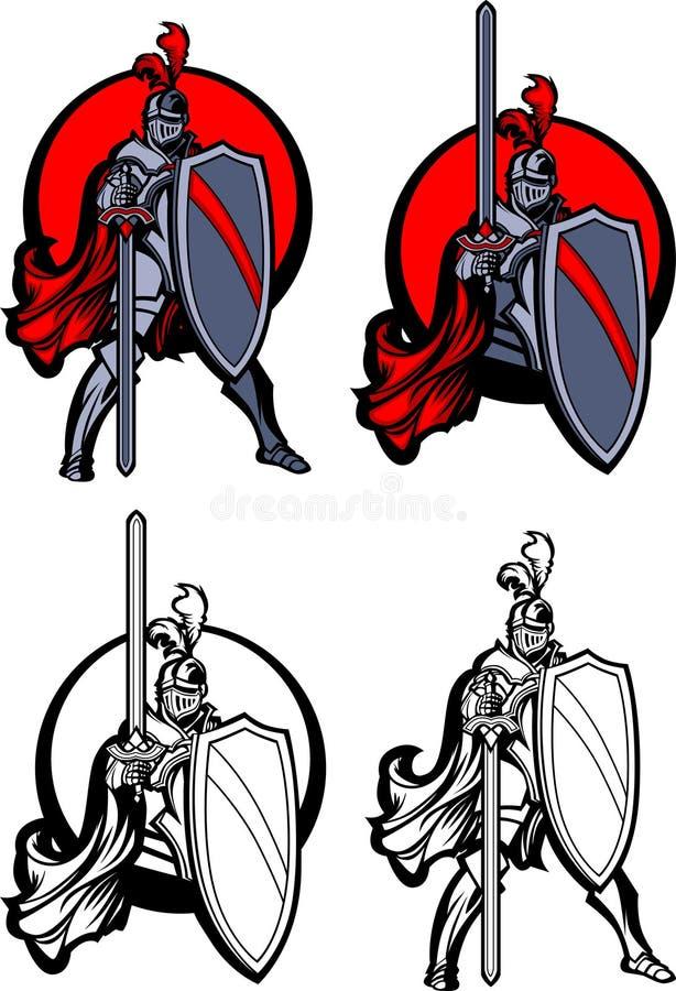 Marchio della mascotte del paladino del cavaliere illustrazione di stock