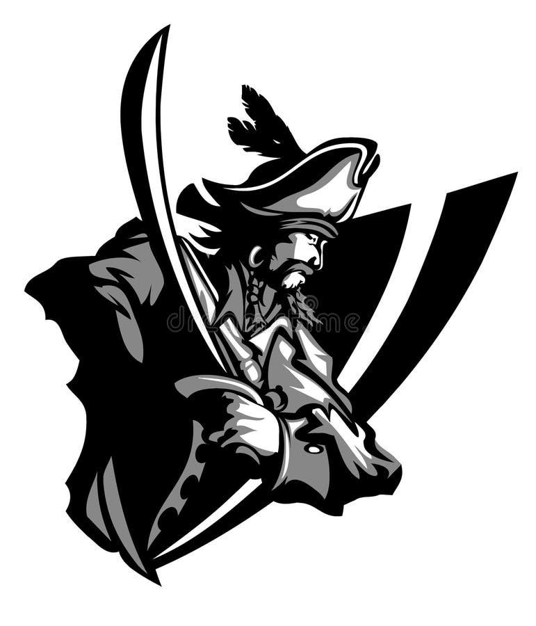 Marchio della mascotte del pirata royalty illustrazione gratis