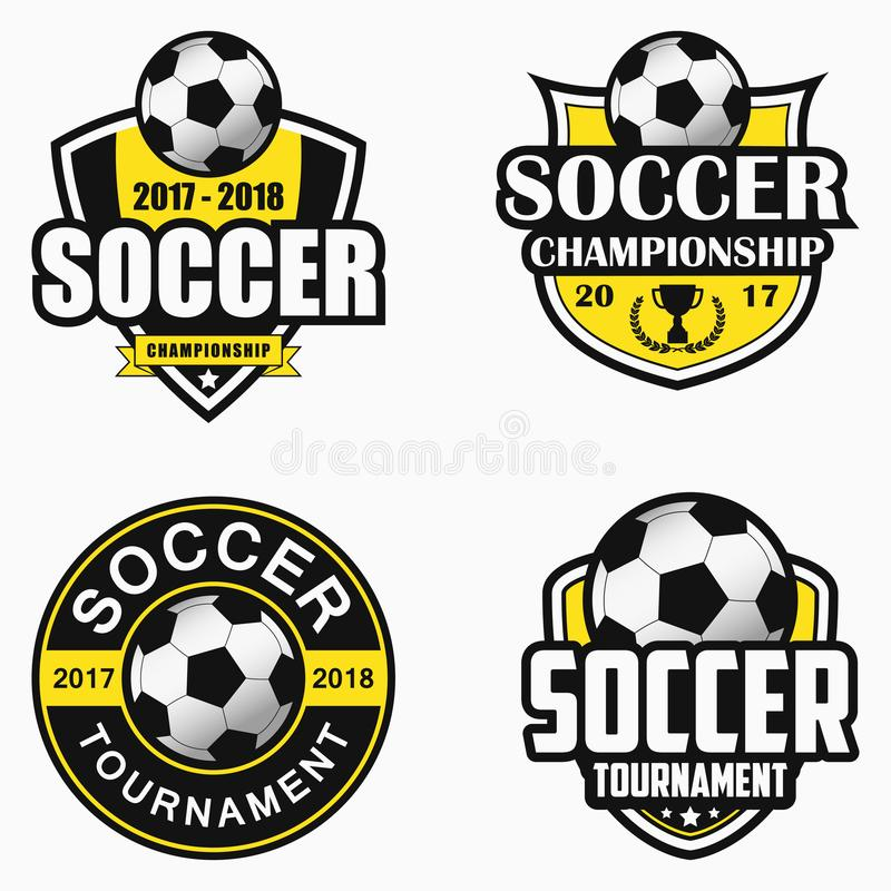 Marchio di calcio Insieme delle progettazioni dell'emblema di sport Vettore illustrazione di stock