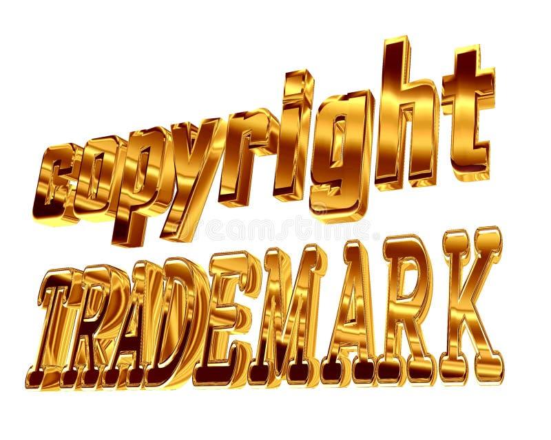 Marchio di fabbrica del copyright del testo dell'oro su un fondo bianco illustrazione di stock