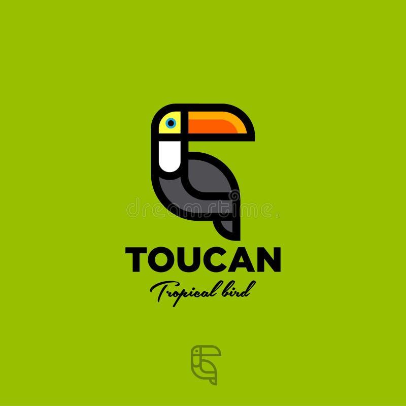 Marchio di Toucan Emblema piano dell'uccello tropicale Icona del tucano su fondo giallo verde illustrazione di stock