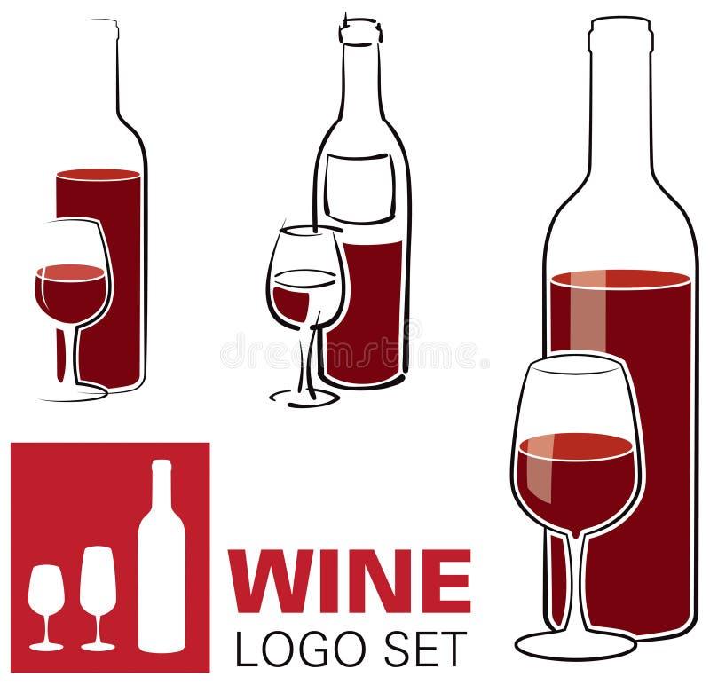 Marchio di vetro e del vino illustrazione di stock