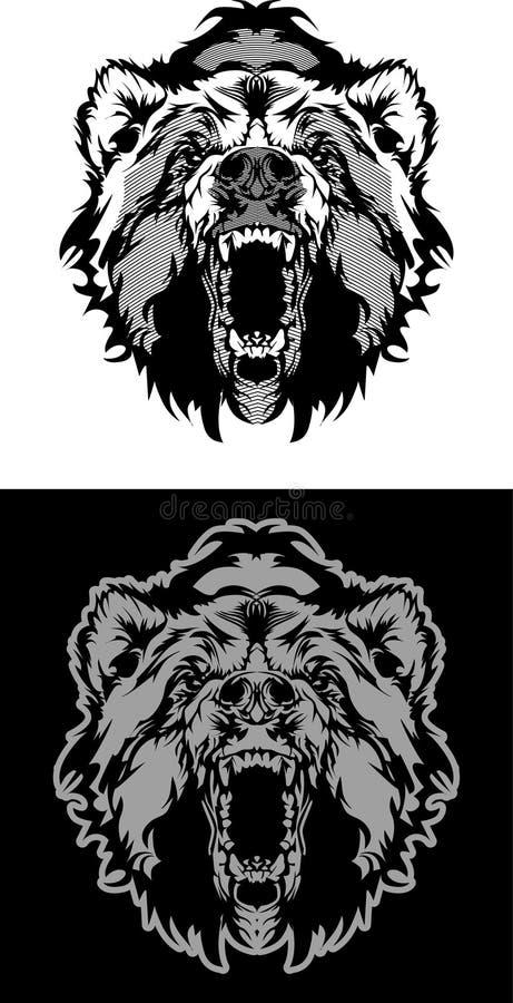 Marchio di vettore della mascotte dell'orso illustrazione vettoriale