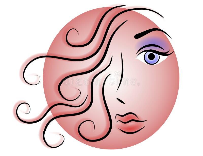 Marchio o icona di Web del fronte della donna illustrazione vettoriale
