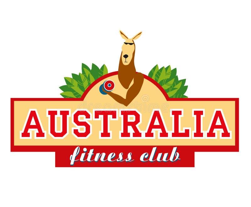 marchio signboard Canguro con le teste di legno Club di forma fisica dell'Australia illustrazione di stock