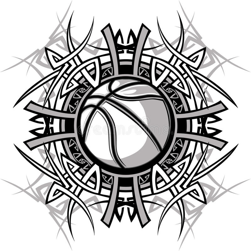 Marchio tribale di vettore della sfera di pallacanestro royalty illustrazione gratis