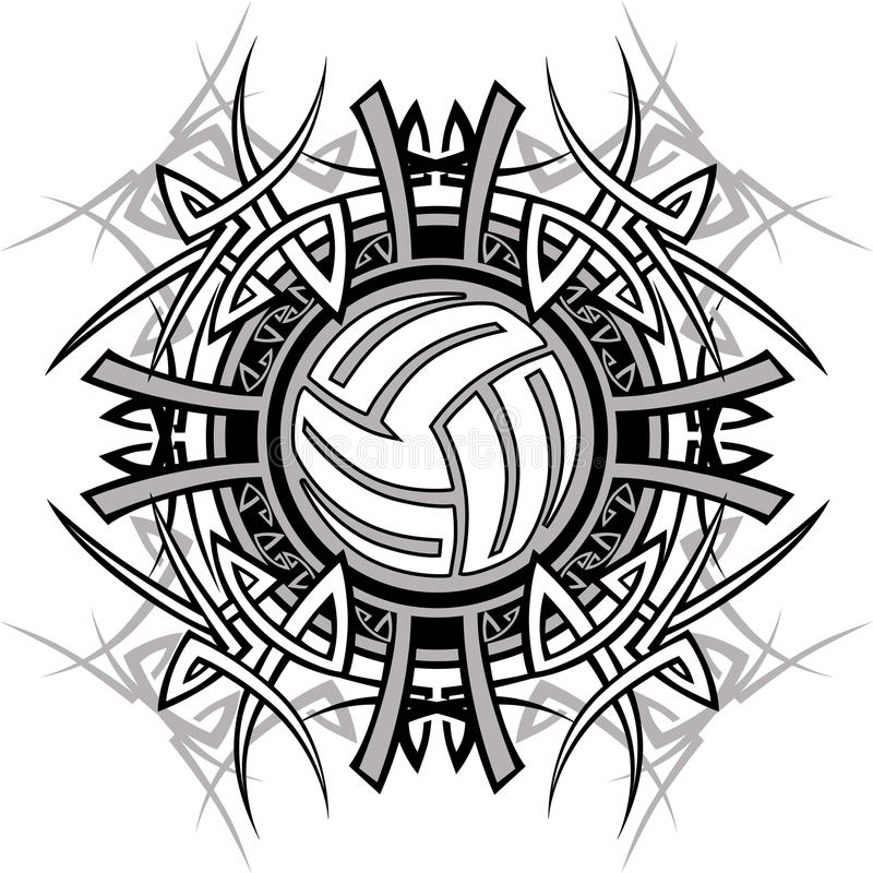 Marchio tribale di vettore di pallavolo royalty illustrazione gratis