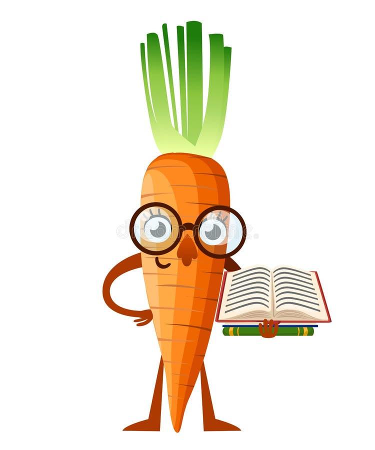 Marchwiana maskotka Kreskówki marchewka z szkło chwytów książką koncepcja uczenia się Wektorowa ilustracja odizolowywająca na bia ilustracja wektor
