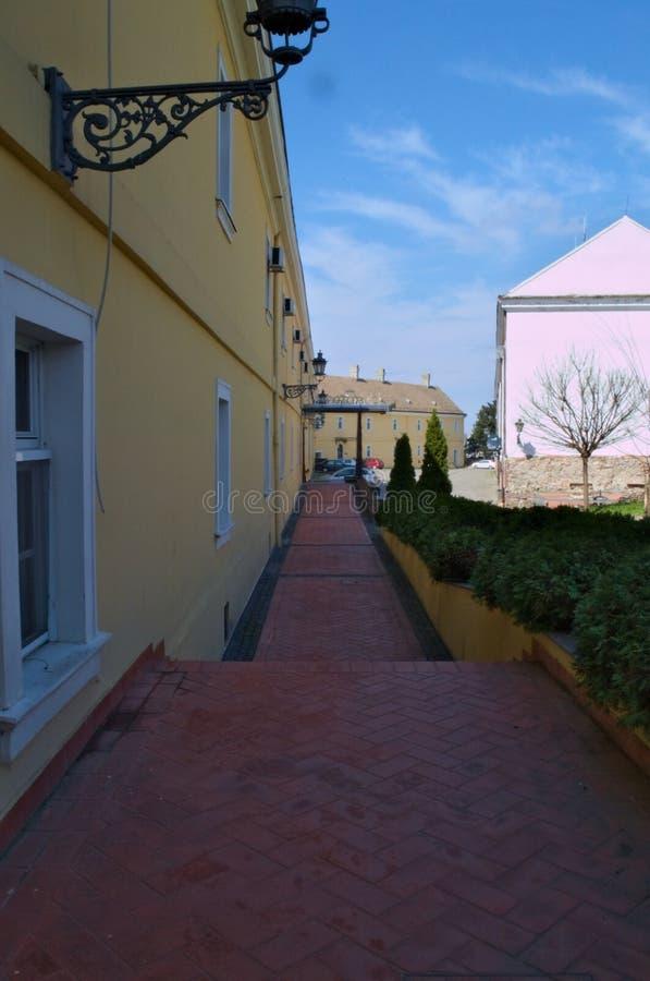 Marciapiede dei mattoni rossi alla fortezza di Petrovaradin, Serbia immagine stock