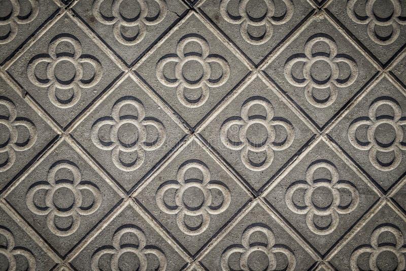Marciapiedi classici delle mattonelle della città di Barcellona fotografie stock libere da diritti