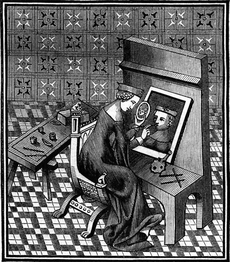 Marcie,罗马夫人,繁忙的绘画他的画象,葡萄酒engravin 免版税库存照片