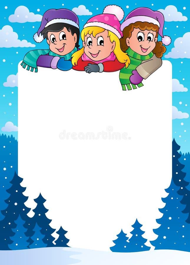 Marco 1 del tema del invierno ilustración del vector