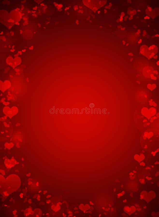 Marco abstracto con los corazones rojos stock de ilustración