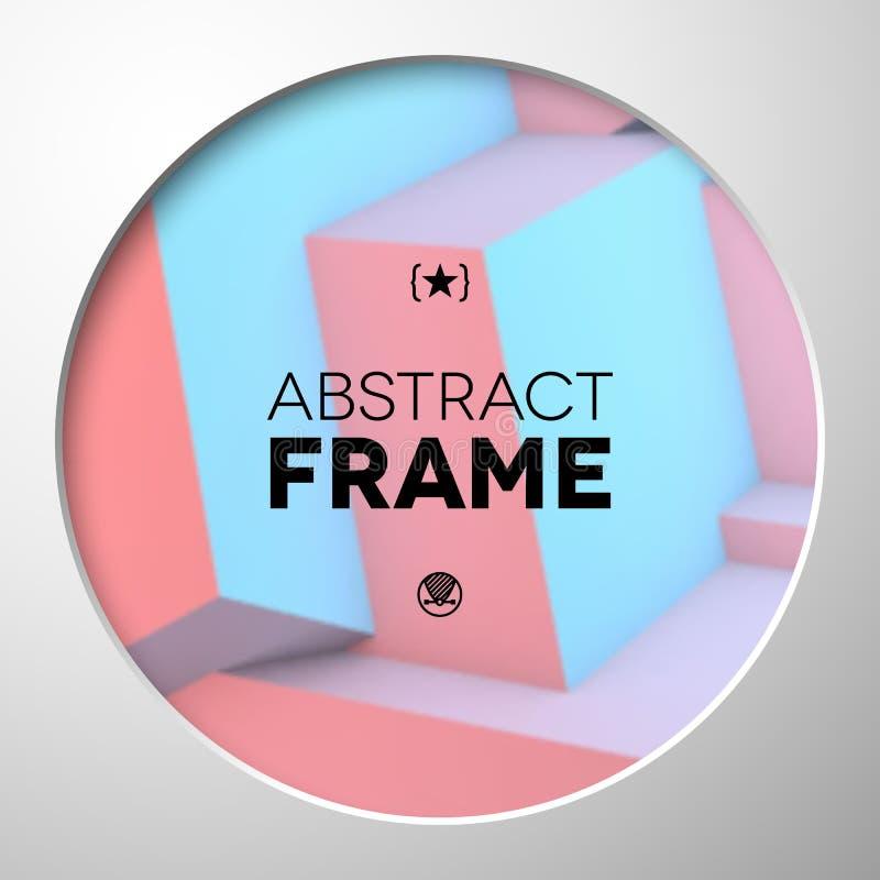 Marco abstracto con los cubos del cuarzo color de rosa y de la serenidad ilustración del vector