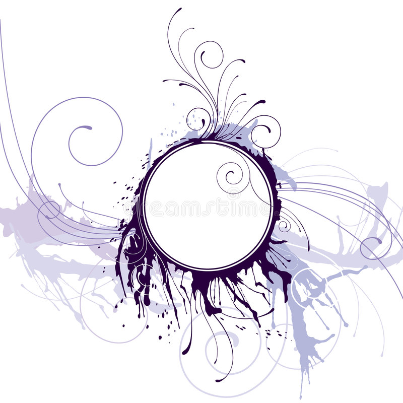 Marco abstracto del círculo de la tinta stock de ilustración
