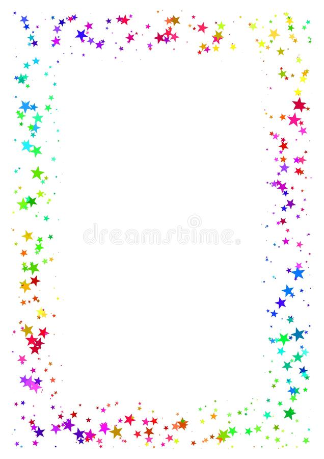 Marco abstracto hecho de estrellas coloridas en el fondo blanco Papel A4 con la frontera estrellada coloreada arco iris Ejemplo m stock de ilustración