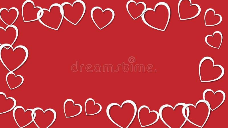 Marco abstracto hermoso de los corazones blancos con las sombras para el día de tarjeta del día de San Valentín feliz en fondo ro libre illustration