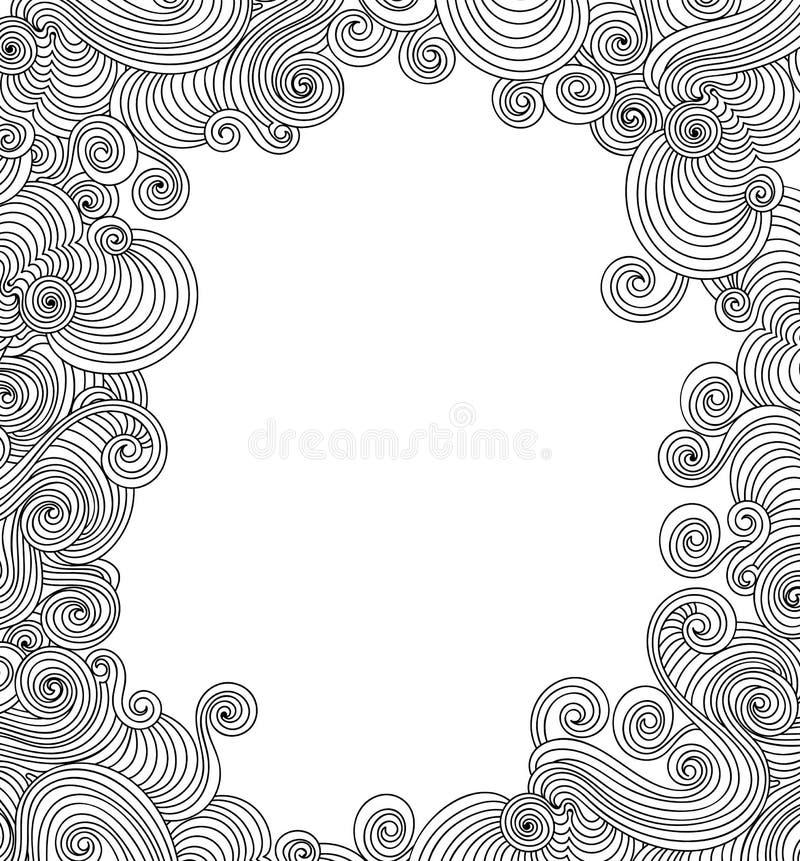 Marco abstracto hermoso del vector con las líneas que se encrespan manuscritas libre illustration