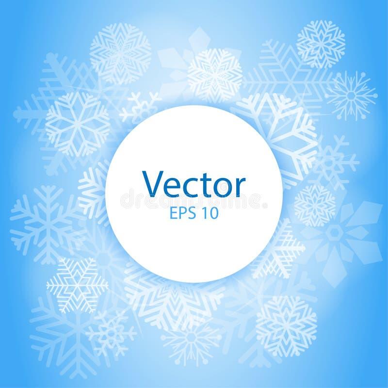 Marco abstracto ligero azul del círculo con los copos de nieve Marco de la Navidad en fondo de la nieve con el espacio para el te ilustración del vector