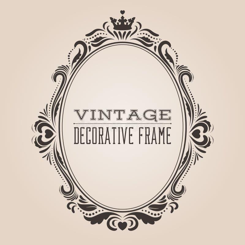 Marco adornado de la frontera del vintage oval, victorian y diseño decorativo del estilo barroco real stock de ilustración