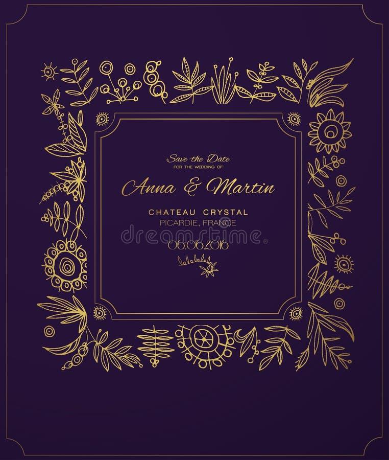 Marco Adornado Del Oro Para Las Invitaciones O Los Avisos Flores Del ...