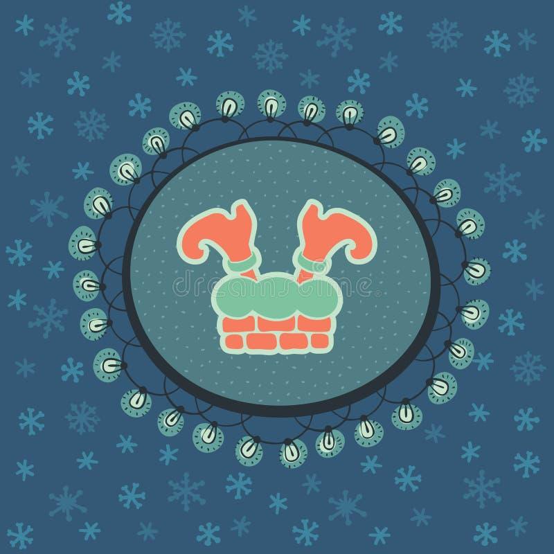 Marco adornado del vintage de la Navidad y del Año Nuevo con símbolo de las piernas de Santa Claus libre illustration