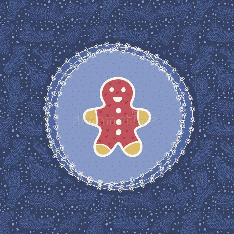 Marco adornado del vintage de la Navidad y del Año Nuevo con símbolo del hombre de pan de jengibre stock de ilustración