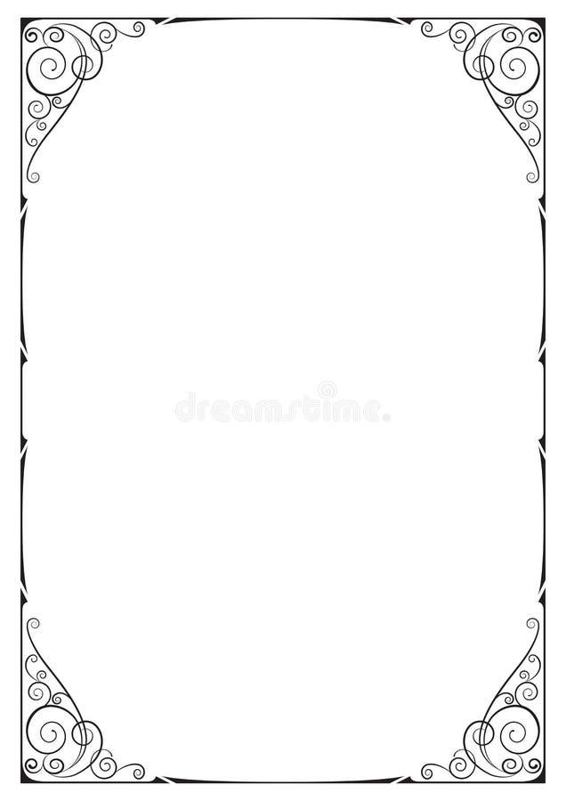 Marco adornado negro, ilustraciones florales, esquinas fotografía de archivo