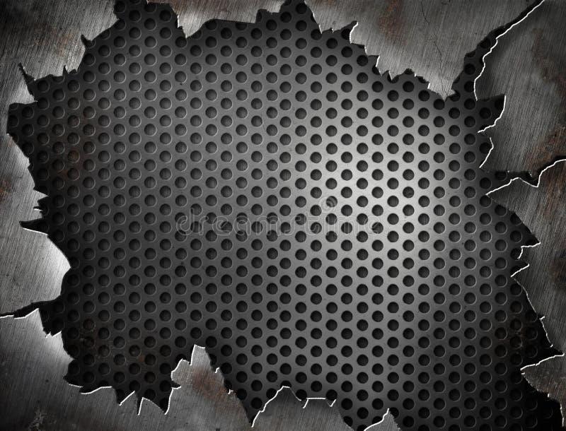 Marco agrietado del metal del grunge para su diseño ilustración del vector