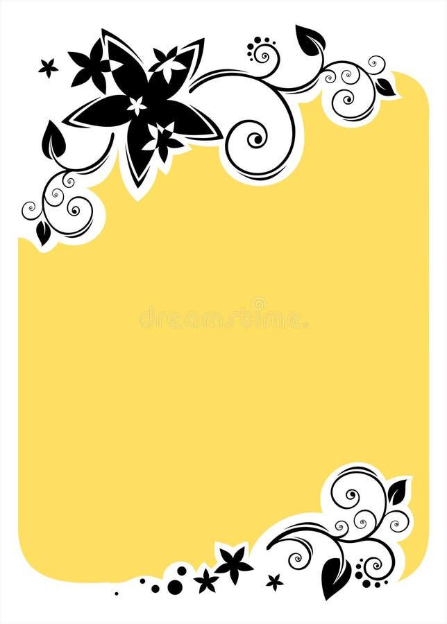 Marco amarillo de las flores stock de ilustración