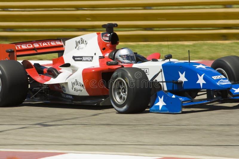 Marco Andretti (Team de V.S.) in zijn Ferrari. royalty-vrije stock foto's