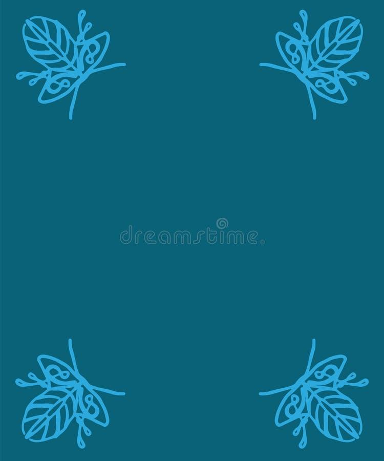 Marco angular del marco decorativo del vintage de ramas en un CCB azul stock de ilustración