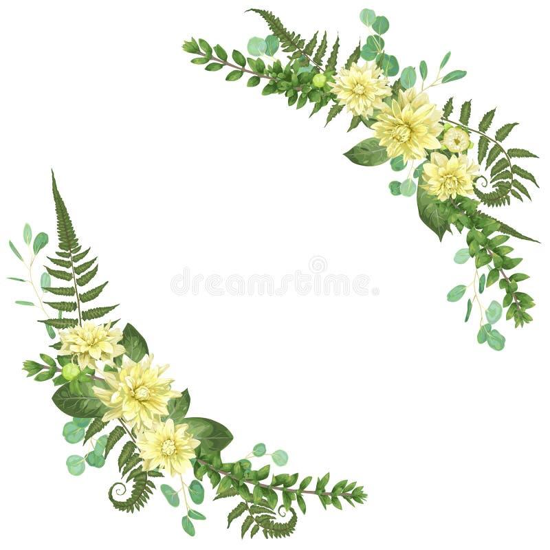 Marco angular floral con las dalias, hoja del helecho, Br del vector delicado ilustración del vector
